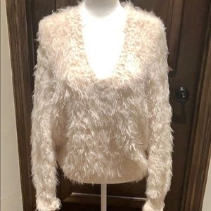 Anthropologie knitted & knotted furry sweater